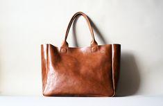 Brown Leather  Bag - Heirloom Tote - Cognac Brown Vegetable Tanned Leather. $285.00, via Etsy.