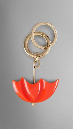 Burberry Vibrant Orange British Icon Umbrella Key Charm - British icon umbrella key charm.  Polished metal hardware.  Discover more accessories at Burberry.com