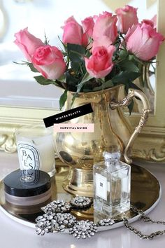 Repurposing Your Silver Pieces in the Bathroom - 1010 Park Place Boudoir, Perfume Display, Silver Tea Set, Silver Trays, Tea Tray, Vanity Tray, Winter Beauty, Rose Cottage, Arte Floral