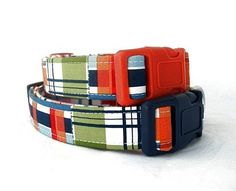 Nautical Plaid Dog Collar with Your Hardware Color Choice on Etsy, $21.00