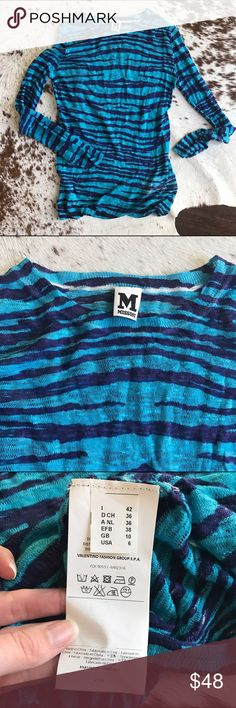 M Missoni blue knit top Gorgeous M Missoni knot top. Navy and bright blue color with long sleeves. Gorgeous addition to any wardrobe. Excellent condition! Size 42 and fits like a S (or will be a fitted M). Missoni Tops Tees - Long Sleeve