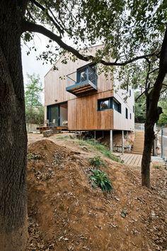 Casa Sant Julià – Spain - Techno Metal Post Inc. Porches, Timber Panelling, Interior Exterior, Barcelona Spain, Building Materials, Techno, Photo Credit, Tiny House, Cabin