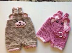 Crochet infant rompers ~ **The previous pinner did not have a pattern listed for these, but they are so sweet, that I had to Pin them ONLY for inspiration** Crochet Bebe, Knit Or Crochet, Crochet For Kids, Crochet Hats, Ravelry Crochet, Knitting Projects, Crochet Projects, Baby Patterns, Crochet Patterns