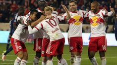 4dc93592402 King Thierry Henry celebrates with Tim Cahill and the rest of his Red Bulls  teammates.