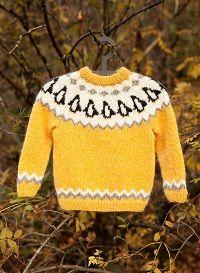 penguins, icelandic wool sweater, free knitting pattern
