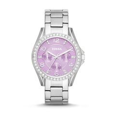 #Fossil Riley Multifunction Stainless Steel Watch - Lavender