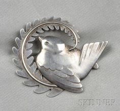 georg jensen silver | 117: Sterling Silver Bird Brooch