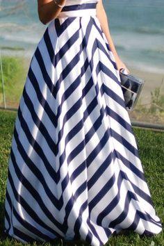 stripe maxi skirts   White Stripe Print Pleated Casual Maxi Skirt @ Skirts,Maxi Skirt ...