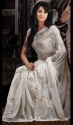 white sare | Look Off White Saree, Handwork saris, Fashion Sarees, Designer Sarees ...