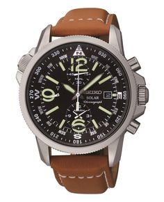 A watch built for style and adventure. This Solar watch from Seiko harnesses the power of natural light and features chronograph and compass tech.   Tan leather strap   Round stainless steel case, 42m
