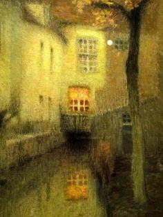 Henri-Eugene-Augustin Le Sidaner (1862 - 1939):  A Canal in Bruges at Dusk.  Probably painted sometime just before 1900