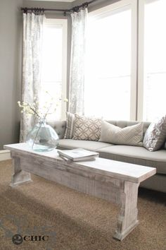 DIY Chalk Paint Furniture Ideas With Step By Step Tutorials - DIY Chalk Painted Bench Coffee table - How To Make Distressed Furniture for Creative Home Decor Projects on A Budget - Perfect for Vintage Kitchen, Dining Room, Bedroom, Bath http://diyjoy.com/chalk-paint-furniture-ideas
