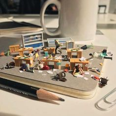 Derrick Lin's Miniature Scenes Capture With Humour the Everyday Ups and Downs of Office Life. #diorama #art #officelife #miniatures #humour #derricklin #brightside