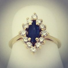 Vintage marquis sapphire and diamond ring. $800 at William Crow Jewelry in Denver.  www.williamcrow.com