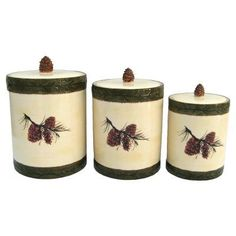 HiEnd Accents Pine Cone Canister - Set of 3 - DI1800CS01