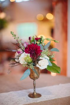 pretty silver centerpiece | Sara & Rocky #wedding