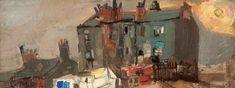 Joan Eardley - Glasgow Tenements, Oil on board, x 31 cm, Hunterian Art Gallery, University of Glasgow. Landscape Art, Landscape Paintings, Urban Landscape, Landscapes, Glasgow School Of Art, List Of Artists, Art Uk, Paint Designs, Your Paintings