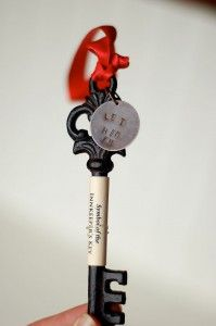 """My ornament was also a key – and goes with a poem and """"Symbol of the Innkeeper's Key"""". I made velvet pouches to store the keys, and stamped the words, """"Let Him in"""" to an antique brass round which I attached to the key. It is a reminder that Jesus is waiting at the door, but we need to let him in."""