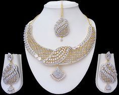 Indian Bridal CZ AD Gold & Silver Bollywood Bridal Necklace Set Swam Jewelry 217