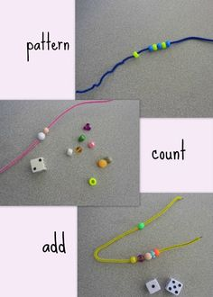 Great Math Activity...pipe cleaners, beads, die. Awesome idea for Gabriel while big brother is doing his math work :)