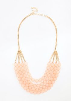 Tier to Stay Necklace in Pink - Pink, Solid, Beads, Darling, Gold, Special Occasion, Pastel, Variation, Wedding