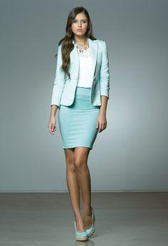 Black skirt n tan blazer, or blue blazer, shoot any color