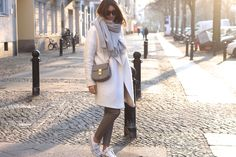 white coat, white sneakers. by shecomesincolors