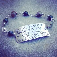 "Genuine Gemstone Beaded dog tag Bracelet ""and she loved a little boy..."" quote on Etsy, $28.00"