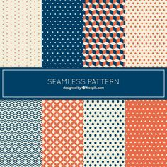 Collection of pattern in geometrical style Free Vector