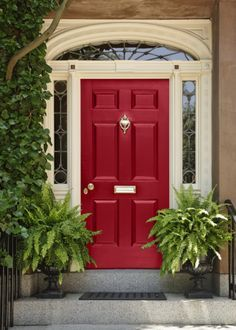 Front doors should be an accent color. In other words, they should be a strong, dramatic, bold shade. Usually, your front door color should not be repeated anywhere else on your house.