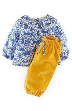 NWT 6-12M Mini Boden / Baby Boden Outfit  Winter Sky Forest, girls 2pcs. set #MiniBoden