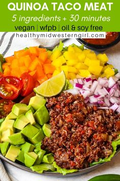 Quick & easy quinoa taco meat is a crowd pleaser for kids and omnivores. Quick & easy quinoa taco meat is a crowd pleaser for kids and omnivores. Vegan Recipes Easy, Meat Recipes, Whole Food Recipes, Vegetarian Recipes, Meat Appetizers, Appetizer Recipes, Recipes Dinner, Healthy Eating Tips, Clean Eating Snacks
