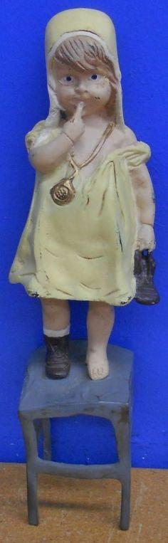 Vintage Cast Iron Door Stop Doorstop-Juan Clara-Little Girl Standing on Chair #Figural #Unknown