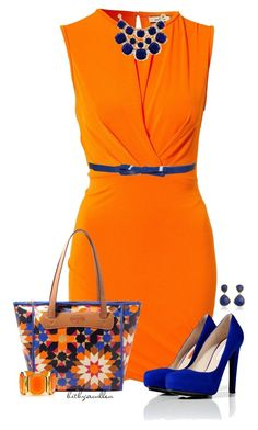 Outfit of the day! This outfit is so cute and professional you would look so chic if you rocked this at the office. I love this color combo, live life in color boldly and brightly! Girl Outfits, Fashion Outfits, Womens Fashion, Fasion, Fashion Styles, High Fashion, Orange Dress Outfits, Swagg, Passion For Fashion