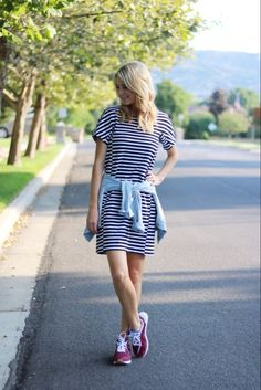 Striped dress, denim shirt