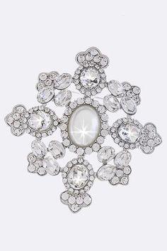 Beautiful Vintage Inspired Pearl and Crystal Rhinestone Brooch (Sparkle-1671-U)