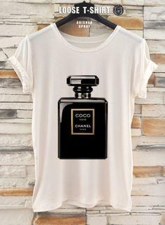 chanel  Noir fashion  tshirt/white/black t-shirt /   Printed T-Shirt / cotton tshirt/ eco print tshirt/ loose tshirt/waisted shirt