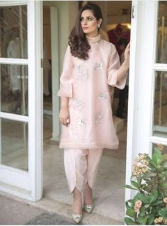 Latest Tulip Pants Trends Designs having new styles, patterns and designs including with a cutting way method and tutorial. Pakistani Fashion Casual, Pakistani Dresses Casual, Indian Fashion Dresses, Dress Indian Style, Indian Outfits, Pakistani Clothing, Indian Wear, Bollywood Fashion, Pakistani Designer Suits