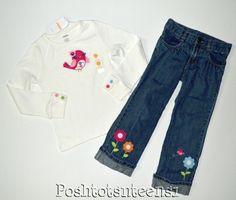 Gymboree Smart and Sweet Soft Bird Top Embroid Flower Jeans Set 6 5t EUC+ sl1-5 #Gymboree
