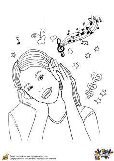 Violetta écoute de la musique, un dessin à colorier.