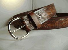 Floral Design Rodeo Belt in Brown or Black