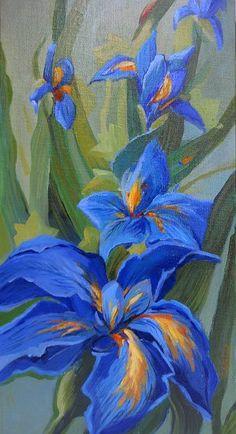 fleurs d'hiris | Atelier Francoise ALLEHAUT/Les Fleurs/Fleurs - Iris bleus - Huile 30cm ...