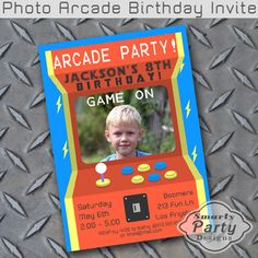 Printable Digital Invitation ➨ NO PHYSICAL ITEM WILL BE SHIPPED TO YOU  If you would like this to be professionally printed, select the PRINTED file type option, add to cart and add this listing to your cart as well https://www.etsy.com/listing/483289587  Heres a super cool Arcade
