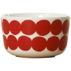 Marimekko Rasymatto Bowl (€18) ❤ liked on Polyvore featuring home, kitchen & dining, serveware, red, red bowl, stoneware bowl, freezer bowl, polka dot bowl and red polka dot bowl