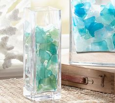 Fill vases or clear lamps with Seaglass for a pop of color. The Ariel Glass Table Lamp is perfect for this fun project!