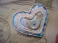 layered textile heart brooch by maxollieandme on Etsy, £6.00