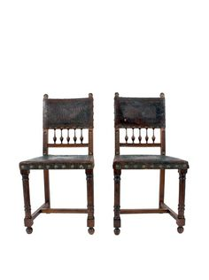 Baroque Spanish Revival Leather Dining Chairs Modern