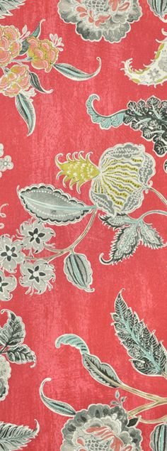 Waverly Asian Myth Radish Fabric in coral, gray and blue  $21.75/yard