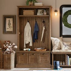 Bring harmony to the entryway or mudroom with this essential hall tree, perfect for coats, scarves, hats, and more.