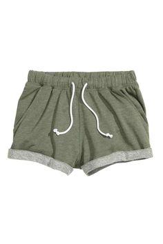 Sweatshirt shorts: Short shorts in marled sweatshirt fabric with an elasticated drawstring waist and sewn-in turn-ups at the hems.